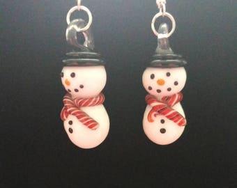 Glass snowmen earrings