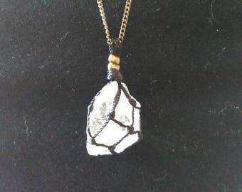 Rock in net necklace