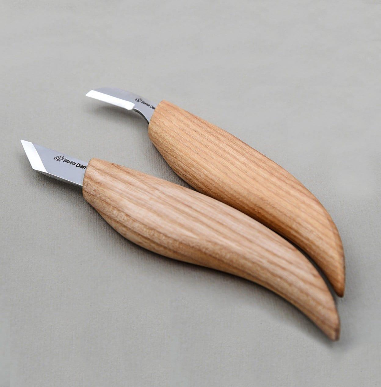 Chip Carving Knives Set Wood Carving Tools Set Kit Woodcarving Knife Set of  2 Chip Carving Knives Detail Knife Skew Knife BeaverCraft Tools