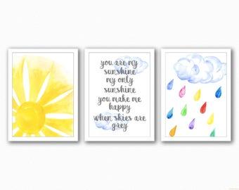 You are my sunshine my only sunshine - Trio Prints - Nursery Prints