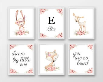 Set 6 Girly Animal Nursery Prints