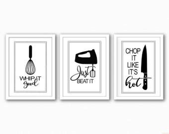 Funny Set Of Three Kitchen Prints