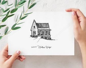 House Portrait | custom architectural drawing of your home |  perfect housewarming, wedding, or realtor gift
