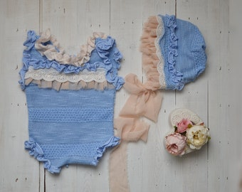 newborn photoprop, photoprop girl, girl phpotpprop, photography prop, newborn outfit, romper, bonnet, vintage dress