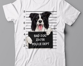 Cool T shirt - Border Collie Dog Mugshot