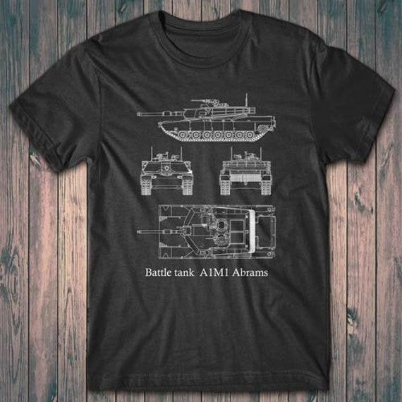 Military T Shirt with blueprint design Challenger 1 Main Battle Tank