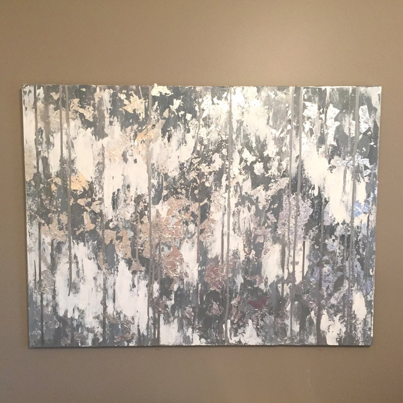 755f295b436 Grey Abstract Canvas Art Silver Leaf Abstract Painting