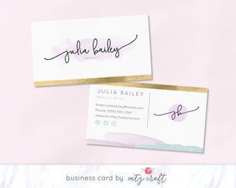 Business Card | Business Card Template | Business Card Design | Watercolor Business Card | Feminine Business Card