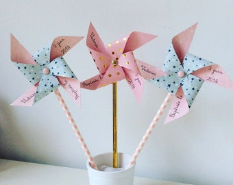 Pink & green pinwheels starry