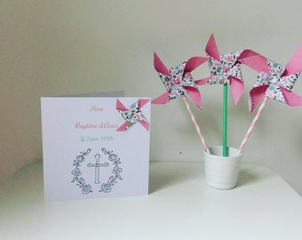 Menu card, cross, windmill, deco table, baptism, wedding, flower, rose