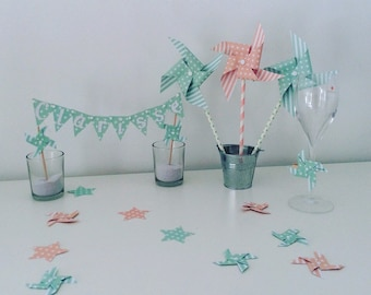 Confetti, decoration of table, pinwheels, cloud, Star, green, Aqua Green