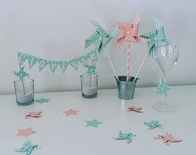 Confetti, decoration of table, pinwheels, cloud, Star, green, Aqua Green