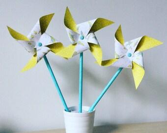 Moulins à vent déco anis & colibri