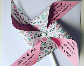 Share mill to wind, pink, flowers, baptism, christening girl.