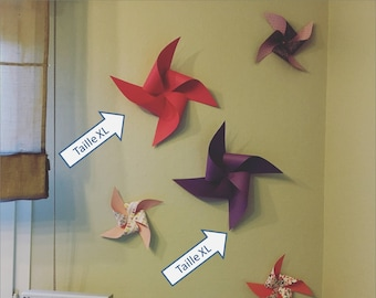 Windmill decor mural, deco room, baptism, wedding, bedroom, fuchsia