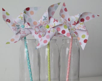 Windmills with butterfly and polka dots patterns