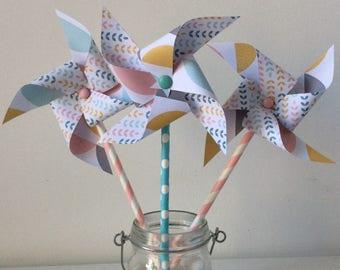 Pink & mustard windmills