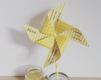 Menu, windmill, deco table, baptism, wedding, yellow