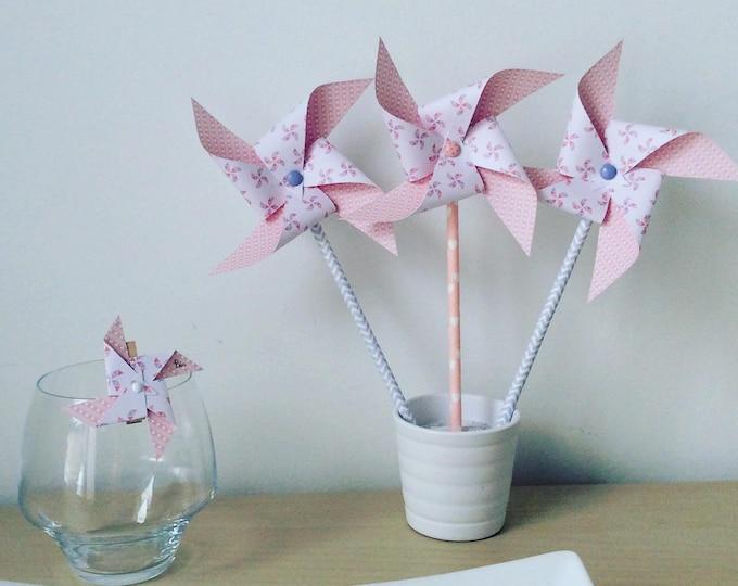 Pink pinwheels, deco table, bedroom, girl baptism