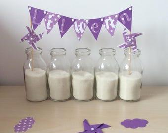 Cake topper, decoration, cake, flag pinwheels wind, baptism, wedding, purple