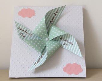 Pink & green windmill guestbook