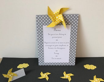 Menu, map, cocktail, eat standing, windmill, table decoration, christening, wedding, yellow, gray