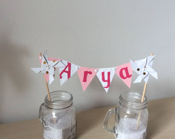 Cake topper, decoration, cake, flag, wind, baptism, wedding, pink pinwheels