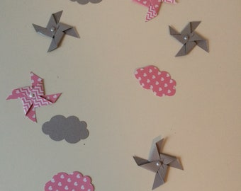 Confetti, table, pinwheels, cloud, Star, pink