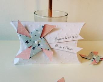 Pink & green stars box dragees