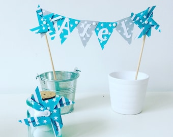 Cake topper, decoration, cake, flag pinwheels wind, baptism, wedding, turquoise, gray