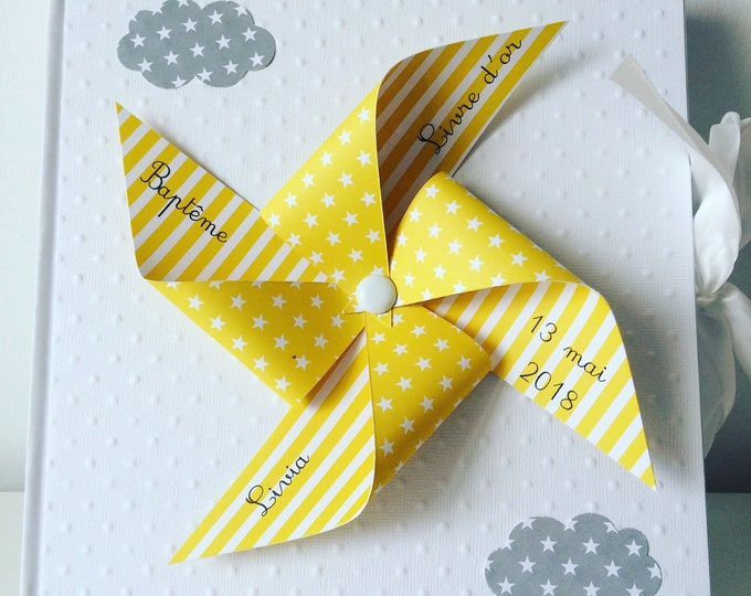 Book guest book, memory, pinwheels wind, cloud, baptism, wedding, yellow, gray