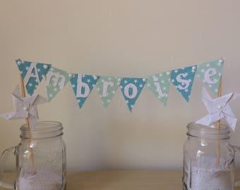 Cake topper, decoration, cake, flag pinwheels wind, baptism, wedding, blue, green