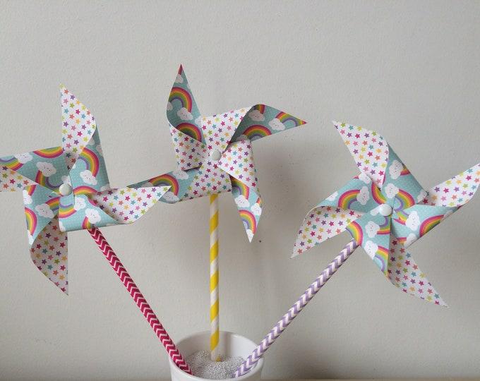 Windmills, Rainbow, birthday, christening, children's room