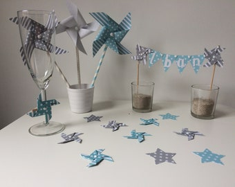 Confetti, decoration of table, pinwheels, cloud, Star, blue, gray