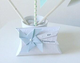 Boîte à dragées bleu pastel