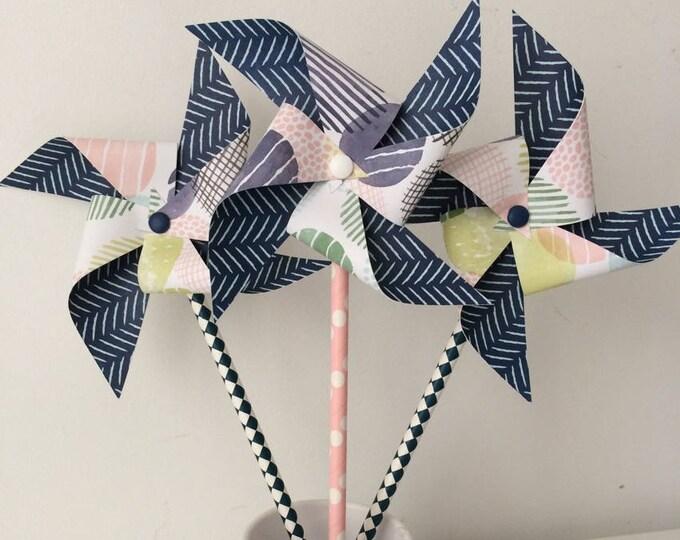 Pinwheels wind, decor, baptism, wedding, Navy Blue, pink, polka dots