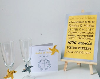 poster, grey, mustard, baptism, wedding, event decoration.