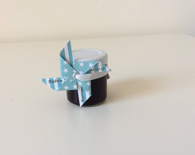 label gift, blue, mill to wind, guest gift, baptism, wedding