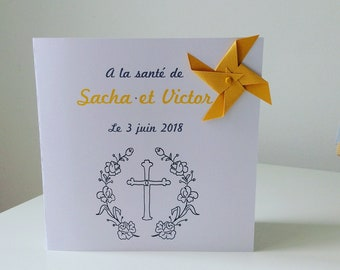 Menu card, cross, windmill, deco table, baptism, wedding, mustard, yellow, gray