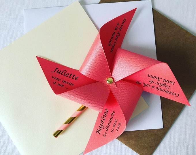 Share, windmill, coral, gold, girl baptism, wedding