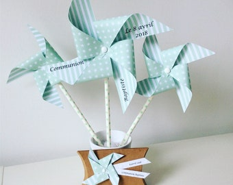 Medium water green wind mills and large model