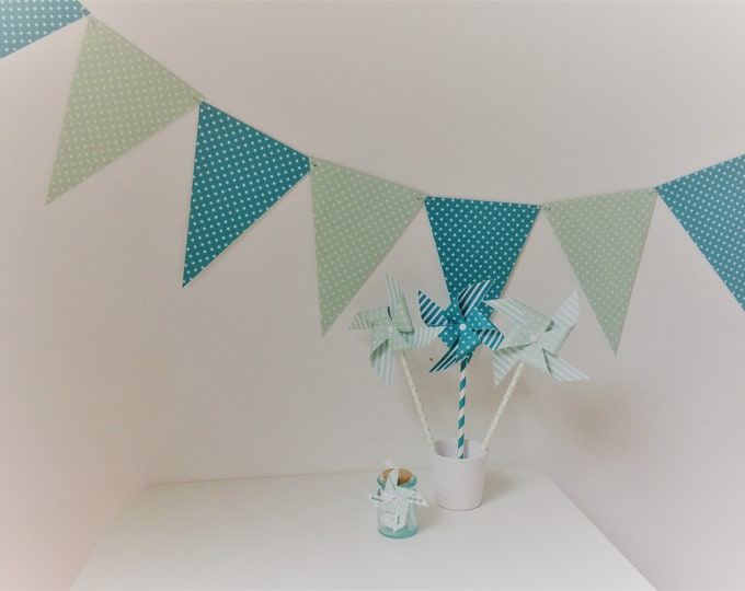 Garland, flags, baptism, room decor, turquoise, green, boy baptism