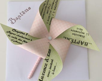 Share wind mill pastel pink & Green