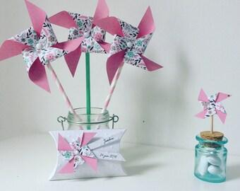 Windmills, pink, mint, flowers, girl baptism, christening, wedding