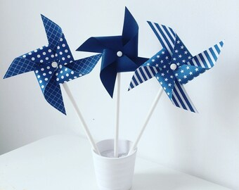 Pinwheels wind, Navy, christening, baptism boy, wedding, birthday, nautical