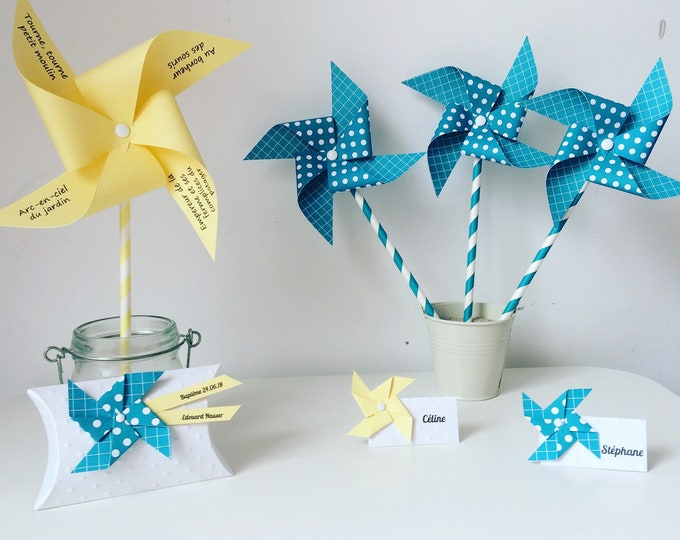 Baptism, turquoise, yellow, deco Pack Pack baptism, christening boy