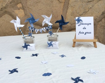 Confetti, table decor, Navy Blue