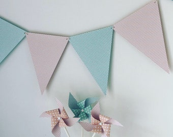 Garland, pennants, bapteme, wedding, Deco room, pink, green, peach