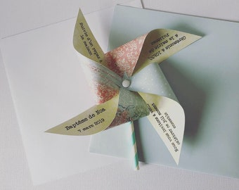Invitation windmill pastel blue, red & yellow