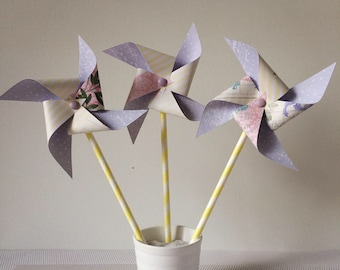 Purple & yellow pinwheels